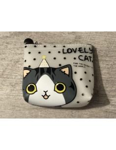 Porte-monnaie à pois avec chat blanc et gris