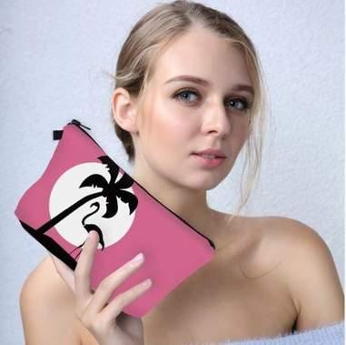Pochette flamant rose avec palmier