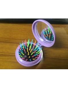 Brosse à cheveux colorée ronde et pliable avec miroir