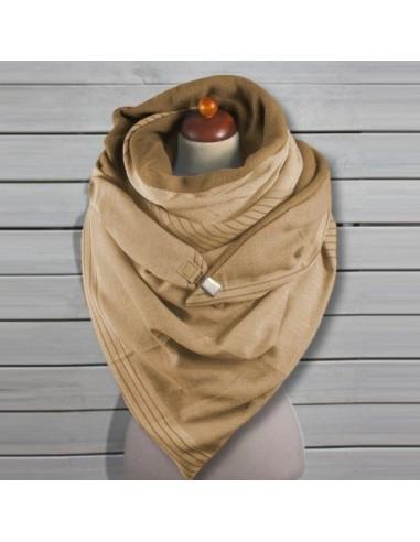 Écharpe châle femme à rayures beige