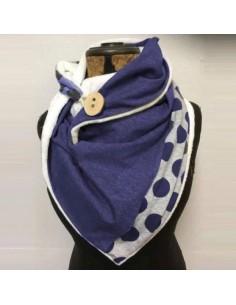 Écharpe châle femme à pois bleu