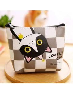 Porte-monnaie chat noir et blanc quadrillage gris